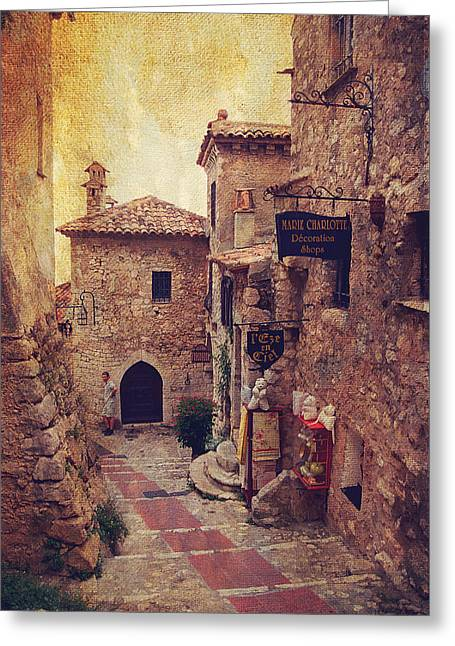 South France Greeting Cards - Eze Street in Color. France Greeting Card by Jenny Rainbow