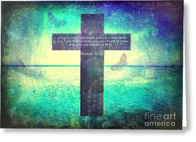 Ezekiel Greeting Cards - Ezekiel Inspirational Bible Verse Greeting Card by Alley Costa