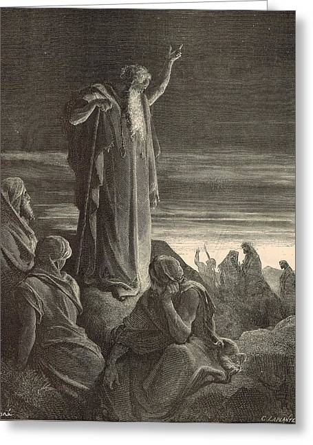 Adonai Greeting Cards - Ezekiel Prophesying by Gustave Dore 1890 Engraving Greeting Card by Antique Engravings