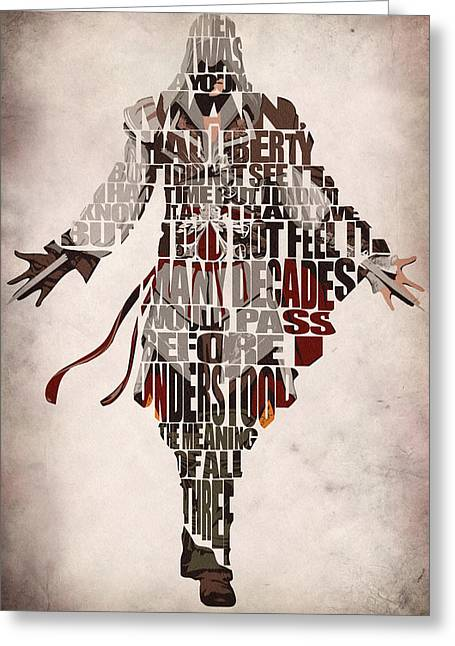 Typographic Greeting Cards - Ezio Auditore da Firenze from Assassins Creed 2  Greeting Card by Ayse Deniz