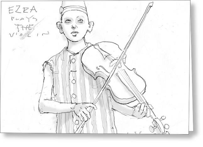 Ezra Plays The Violin Greeting Card by H James Hoff