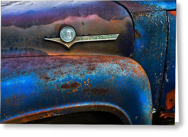 F-100 Ford Greeting Card by Debra and Dave Vanderlaan