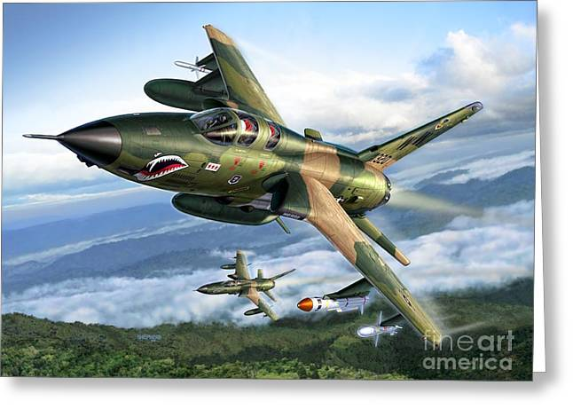 Radar Greeting Cards - F-105G Wild Weasels Greeting Card by Stu Shepherd