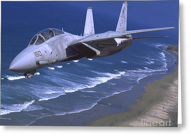 On The Beach Greeting Cards - F-14 Tomcat Flying Over San Diego Greeting Card by Phil Wallick
