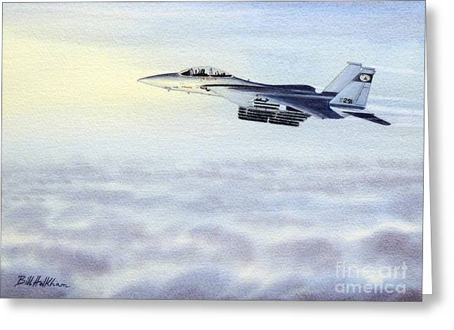 Strike Paintings Greeting Cards - F-15 Eagle Greeting Card by Bill Holkham