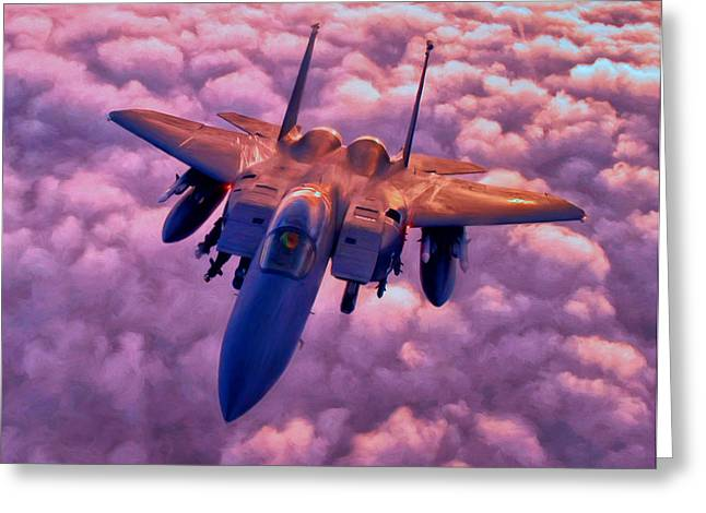 Jet Paintings Greeting Cards - F-15 Greeting Card by Michael Pickett