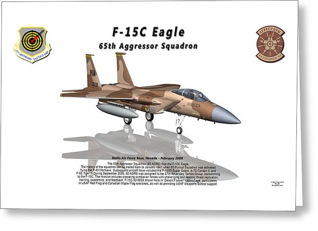 Adversary Greeting Cards - F-15C Eagle 65th AGRS with Reflection Greeting Card by Bob Tyler