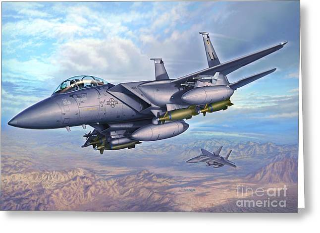 F-15e Desert Eagles Greeting Card by Stu Shepherd