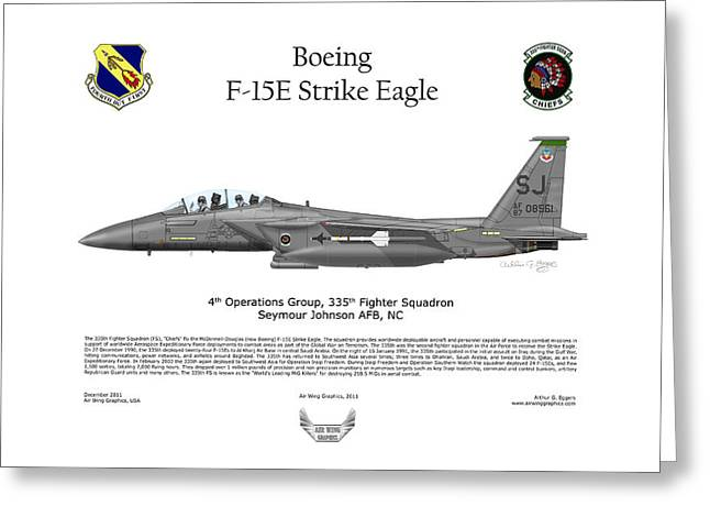 Iraq Prints Greeting Cards - F-15E Strike Eagle 335th FS Greeting Card by Arthur Eggers