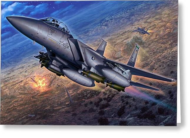 15 Greeting Cards - F-15E Strike Eagle Scud Busting Greeting Card by Stu Shepherd