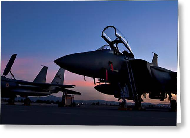 Air Shows Greeting Cards - F-15E Strike Eagles at Dusk Greeting Card by Adam Romanowicz