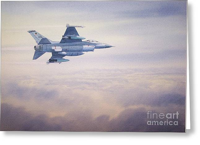 Jet Print Greeting Cards - F-16 Fighting Falcon Greeting Card by Bill Holkham