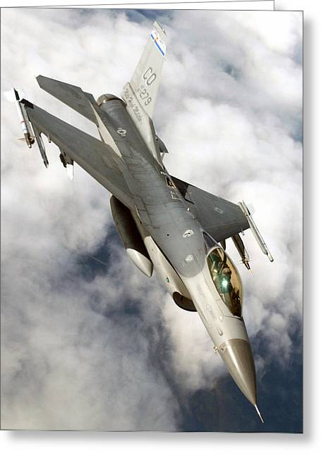 Navy Greeting Cards - F-16C Fighting Falcon Greeting Card by Celestial Images