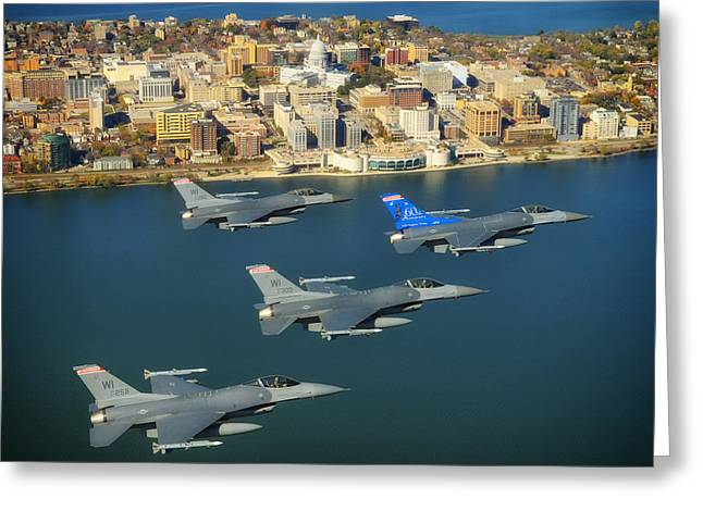 Airpower Greeting Cards - F-16s over Madison Wisconsin Greeting Card by Mountain Dreams