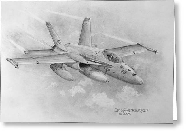 F-18 Drawings Greeting Cards - F-18 Super Hornet Greeting Card by Jim Hubbard