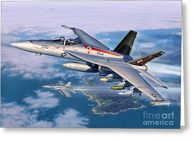 F-18 Greeting Cards - F-18E Super Hornet Greeting Card by Stu Shepherd