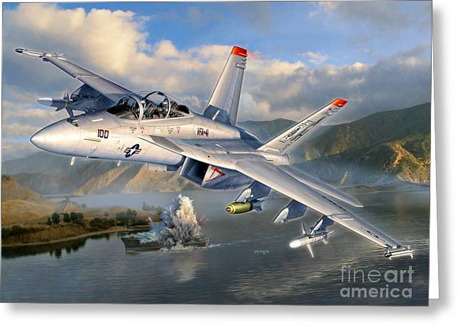 F-18 Greeting Cards - F-18F Stopping Maritime Terror Greeting Card by Stu Shepherd