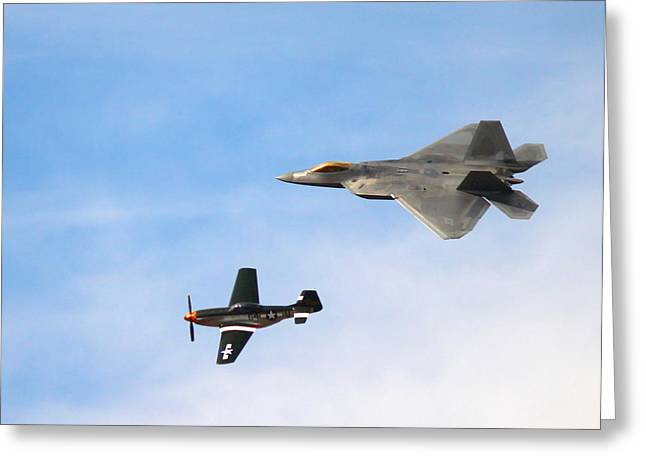 F-22 and P-51 Heritage Flight Greeting Card by Saya Studios