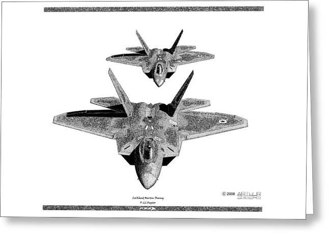 Captain Eggers Greeting Cards - F-22 Raptor Greeting Card by Arthur Eggers