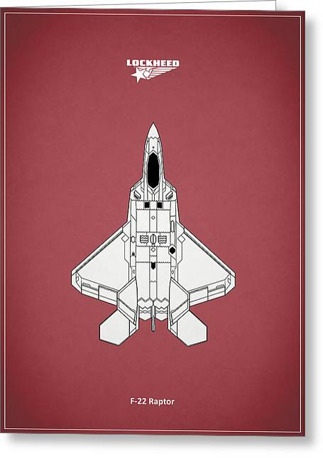 Airplane Greeting Cards - F-22 Raptor - Red Greeting Card by Mark Rogan