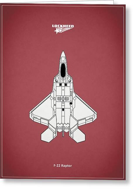 Raf Photographs Greeting Cards - F-22 Raptor - Red Greeting Card by Mark Rogan