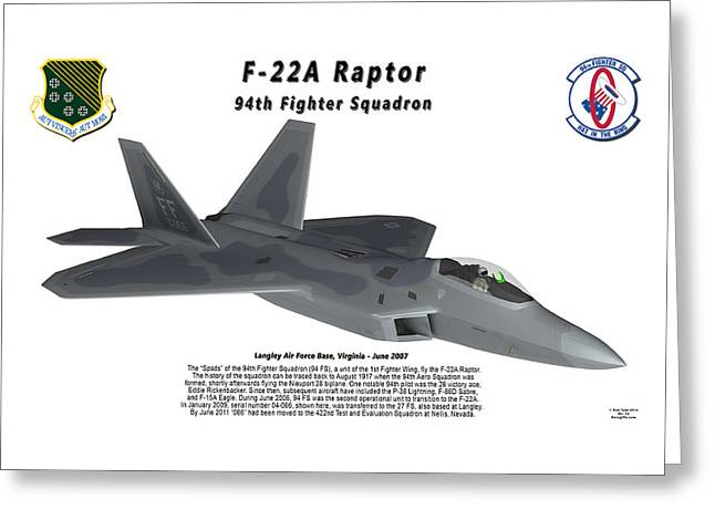 94th Fighter Squadron Greeting Cards - F-22A Raptor 94th Fighter Squadron in flight Greeting Card by Bob Tyler