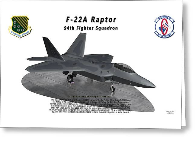 94th Fighter Squadron Greeting Cards - F-22A Raptor 94th Fighter Squadron on ramp Greeting Card by Bob Tyler