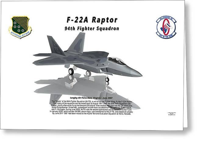 94th Fighter Squadron Greeting Cards - F-22A Raptor 94th Fighter Squadron with reflection Greeting Card by Bob Tyler