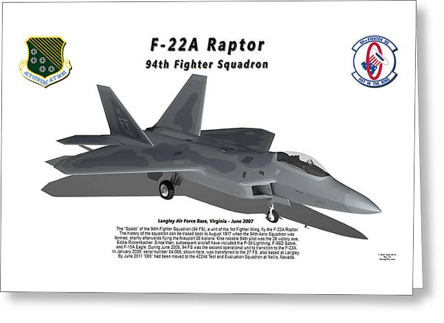 94th Fighter Squadron Greeting Cards - F-22A Raptor 94th Fighter Squadron with shadow Greeting Card by Bob Tyler