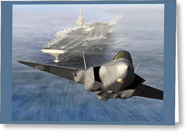 Single Mixed Media Greeting Cards - F-35 Catapult Launch from US Super Carrier Greeting Card by L Brown