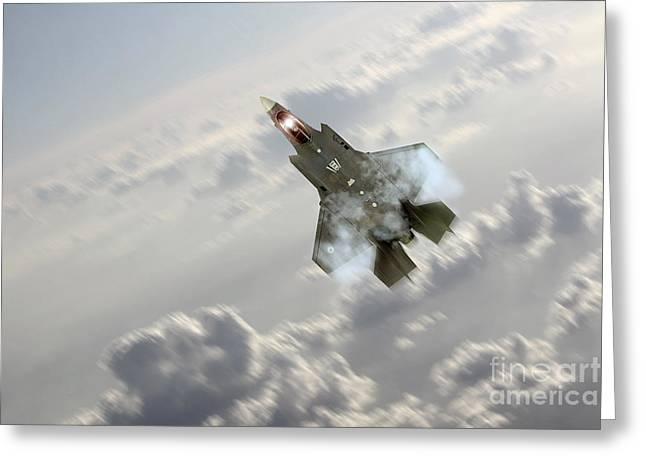 F-35 Climb Greeting Card by J Biggadike