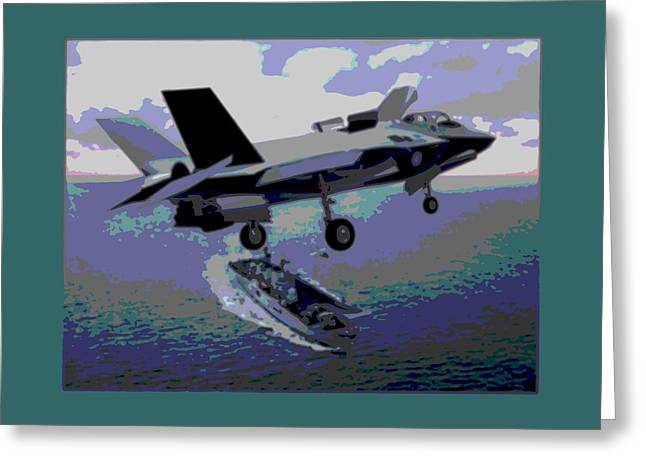Barrel Roll Greeting Cards - F-35 Strike Fighter On Final Approach to the US Marine Corps Assault Carrier Enhanced Greeting Card by L Brown