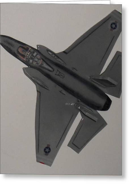 Airplane Sculptures Greeting Cards - F-35 flying Greeting Card by Val Oconnor
