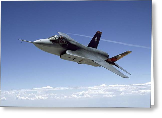 Barrel Roll Greeting Cards - F 35 Joint Strike Fighter Amber Indigo Red Fins Greeting Card by US Military - L Brown