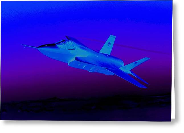 Barrel Roll Greeting Cards - F 35 Joint Strike Fighter At Dusk Night Mission Greeting Card by US Military - L Brown