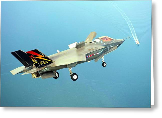 Barrel Roll Greeting Cards - F 35 Joint Strike Fighter Final Approach US Assault Carrier Enhanced II Greeting Card by US Military - L Brown