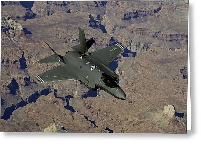 Barrel Roll Greeting Cards - F 35 Joint Strike Fighter Lightening II Greeting Card by US Military - L Brown