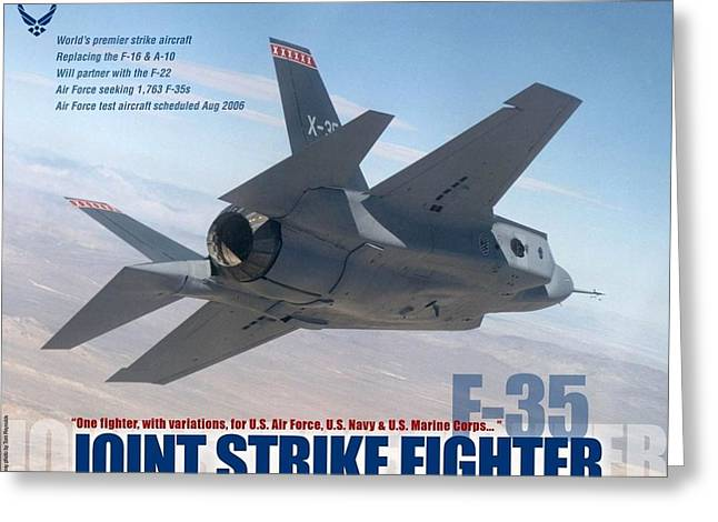 Single Mixed Media Greeting Cards - F-35 Joint Strike Fighter with text Greeting Card by L Brown