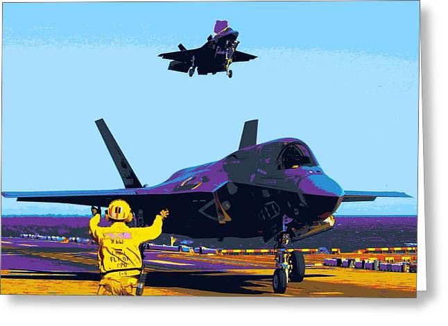 Barrel Roll Greeting Cards - F 35 Joint Strike Fighters Landing Vertically On US Marine Assault Carrier Enhanced III Greeting Card by US Military - L Brown