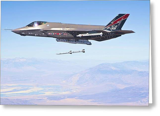 Barrel Roll Greeting Cards - F 35 Launching Missile Enhanced Greeting Card by US Military - L Brown