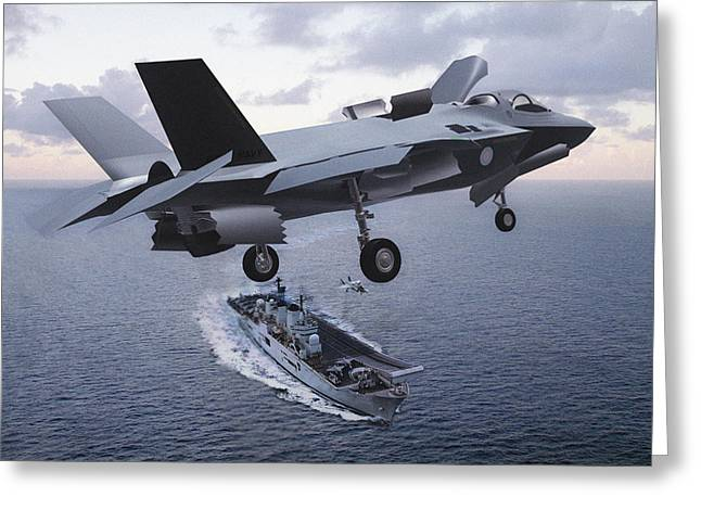 Conditions Mixed Media Greeting Cards - F 35 Strike Fighter On Final Approach to the US Marine Corps Assault Carrier Greeting Card by L Brown