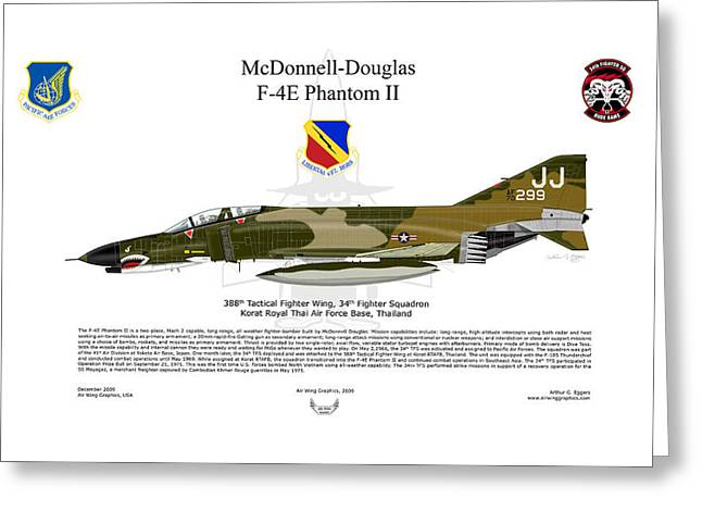Steve Eggers Greeting Cards - F-4E Phantom II Greeting Card by Arthur Eggers