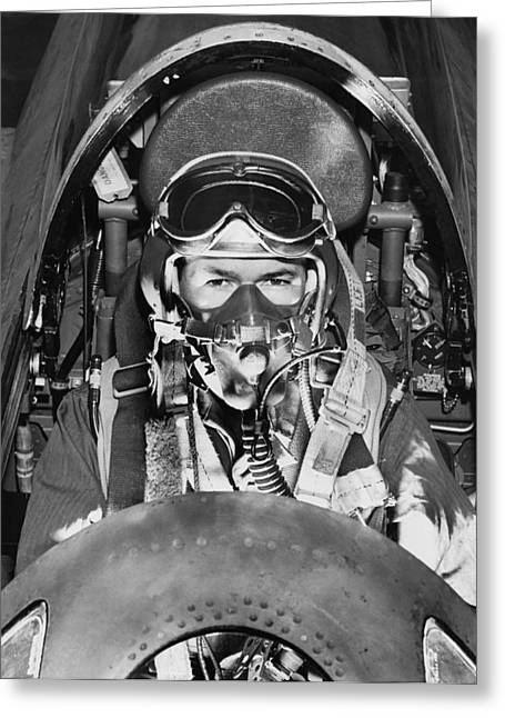 F-84 Thunderjet Pilot Greeting Card by Underwood Archives