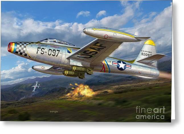 U.s. Air Force Greeting Cards - F-84E Thunderstrike Greeting Card by Stu Shepherd