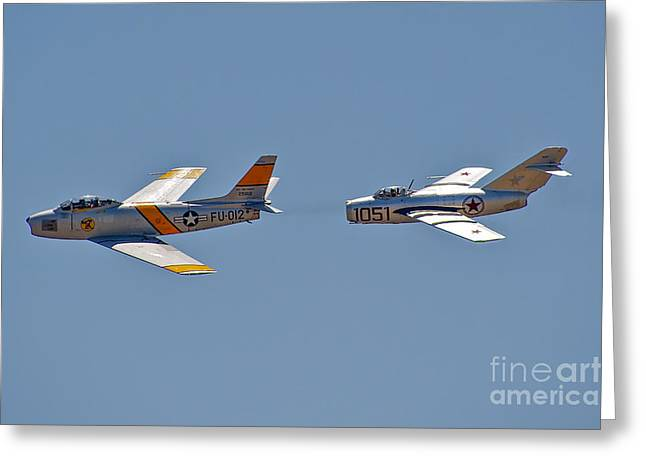 F-15 Print Greeting Cards - F-86 - Mig 15 Greeting Card by Hank Taylor