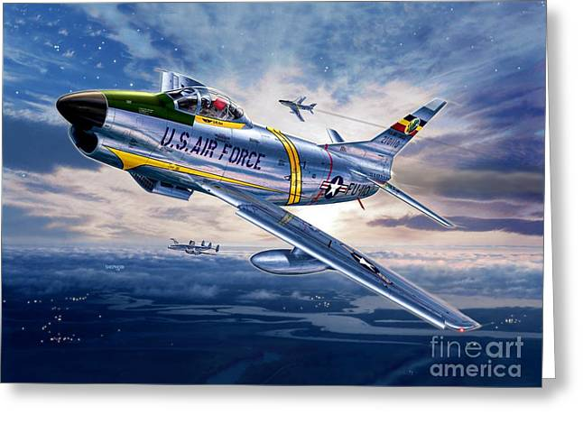 Constellations Digital Art Greeting Cards - F-86D Sabre Dog Greeting Card by Stu Shepherd