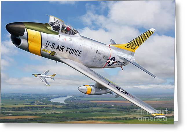 F-86L of the 82nd FIS Greeting Card by Stu Shepherd