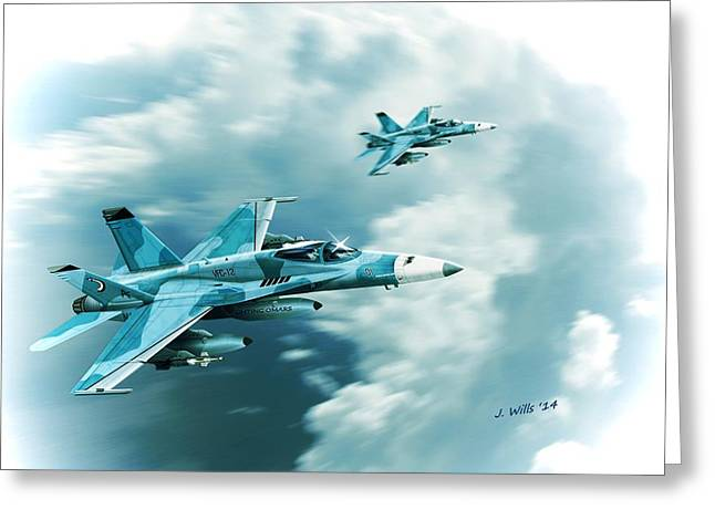 Omar Greeting Cards - F A 18C Hornet Fighting Omars VFC12 Greeting Card by John Wills