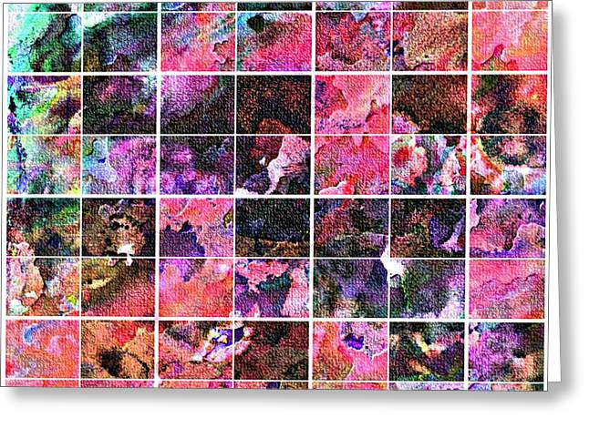 Abstract Digital Tapestries - Textiles Greeting Cards - Tiled Watercolor Blocks with Texture 5 Greeting Card by Barbara Griffin