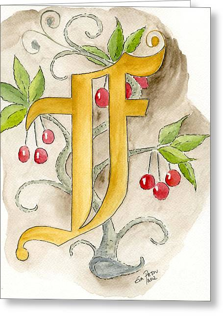 Calligraphy Drawings Greeting Cards - F Greeting Card by Eva Ason